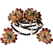 REDUCED Vintage William deLillo signed faux pearl garnet colored bracelet and earrings