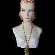 Vintage signed William deLillo 1960's necklace gold-tone tassels