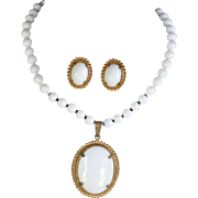 REDUCED Vintage signed Miriam Haskell white milk glass necklace and earrings
