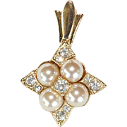 REDUCED Vintage William de Lillo signed faux pearl and crystal pendant slider
