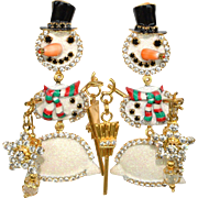 Vintage signed rare Lunch at the Ritz holiday snowmen pierced post earrings