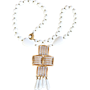 Vintage signed William deLillo white milk glass cross statement necklace