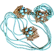 Vintage 1930's Miriam Haskell turquoise colored lariat clip necklace and bracelet