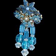 Vintage signed Stanley Hagler dangling blue brooch pin