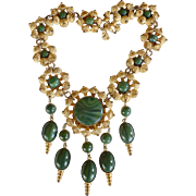 Vintage signed William deLillo 1970's dark green gold-toned rare Etruscan necklace