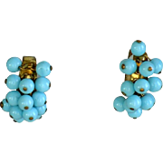 Vintage robin's egg blue dangle hoop possibly unsigned Miriam Haskell earrings