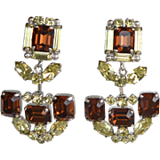 Vintage signed Castlecliff amber and light green high quality dangle earrings