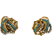 Vintage signed Miriam Haskell aqua blue crystal Russian gold earrings