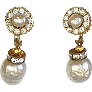 Vintage signed Miriam Haskell baroque pearl dangly earrings