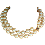 Vintage signed William deLillo chunky baroque double strand pearl necklace butterfly clasp