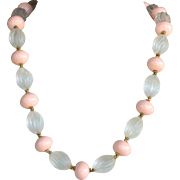 Vintage signed William deLillo  jumbo pink and clear bead necklace