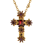 Vintage signed Miriam Haskell ornate gold-tone red jeweled cross necklace