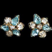 SALE Faux Diamond and Faux Aqua Gold Filled M & S Earrings