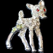 Rhinestone Baby Christmas Reindeer Brooch Pin