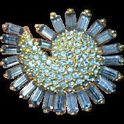 Blue PAISLEY Rhinestone Swirl Brooch Pin