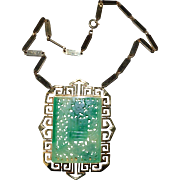VENDOME Faux Jade Pendant Necklace