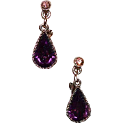 Faux Amethyst Vintage Dangle Earrings