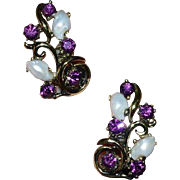 LISNER Faux Amethyst and Faux Natural Pearl Earrings