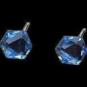 Large Faceted Rhinestone Earrings