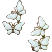 DENMARK Sterling Butterfly Enamel Earrings