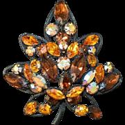 REGENCY Faux Topaz Rhinestone Flower Brooch Pin