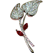 AB and Faux Ruby Rhinestone Flowers Brooch Pin