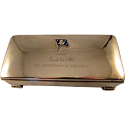 Vintage Secretary of Navy sterling silver cigarette box Poole