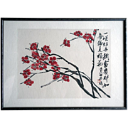 REDUCED Qibaishi Woodblock Print, Plum flower, with a frame 20 century