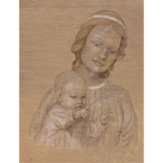 REDUCED Early 20th Century Portrait of Woman with Child After Foujita