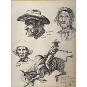 REDUCED Fine Art Native American Sketches by Gregory Perillo