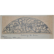"REDUCED WPA Era Mural Study ""Crossing the Andes"" c.1930's"