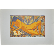 REDUCED Mid Century Color Lithograph c.1950's