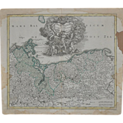 REDUCED 18th Century Hand Colored Pomerania Map c.1718