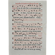 REDUCED 18th Century Two Sided Antiphonal Music Sheet