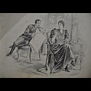 Samuel D. Ehrhart Pen & Ink Illustration for Puck Magazine c.1890's