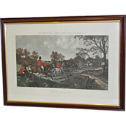 "REDUCED Lot of Four 19th Century Hand Colored Engravings ""Fox Hunting Scenes"" c.1860"