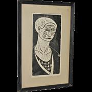 "SOLD Mid Century ""Clown"" Woodcut Print c.1950's"