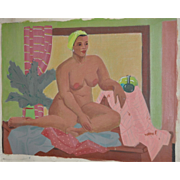 REDUCED Vintage Figurative Nude Oil Painting by Nancy Larsen c.1940's
