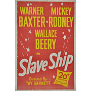 REDUCED Slave Ship Movie Poster - Mickey Rooney & Wallace Berry c.1937