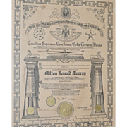 REDUCED House of  Solomon's Masonic Certificate c.1917