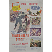 "REDUCED Vintage Korean War Movie Poster ""Heartbreak Ridge"" c.1955"
