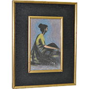 REDUCED Vintage Pastel on Paper of Seated Woman c.1950's