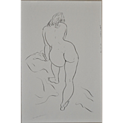 REDUCED Early 1960's Figural Nude Pen & Ink by Edward Hagedorn