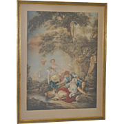 REDUCED French Hand Colored Lithograph c.1920's