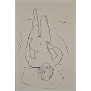 REDUCED Vintage 1960's Figural Nude Pen & Ink