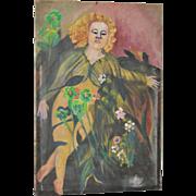 Ursula Barnes (German / American Outsider Artist) Original Painting 1930's