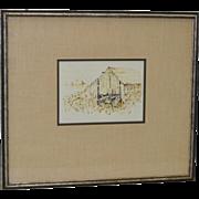 REDUCED Nancy Johnson (1920-2001) Barn Sketch c.1970's