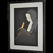 Kaoru Kawano Woodblock Print c.1950s