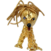 Delightful Vintage 18k Gold Dog Brooch