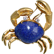 Tiffany & Co. Lapis Lazuli and Diamond Crab Brooch c.1970s
